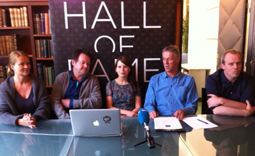 Rockheim Hall of Fame nomination committee 2011: (from left) Marte Thorsby, Larry Bringsjord, Marit Larsen, Petter Myhr and Ivar Håkon Eikje.